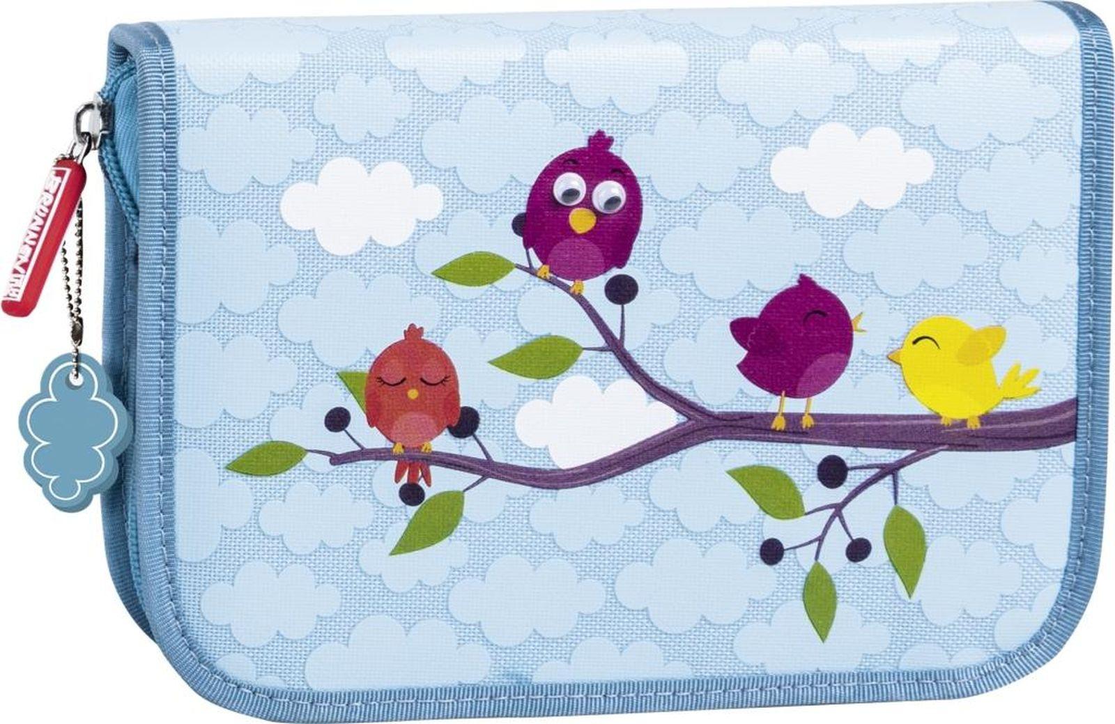 Пенал Brunnen Birds, 49120-13, голубой, 19,5 х 13,5 х 3,5 см