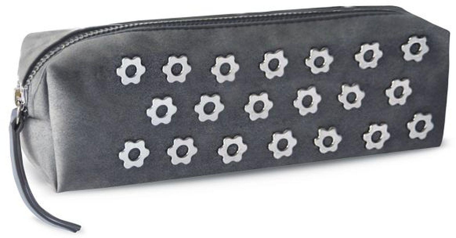 Пенал Феникс+ Цветы Заклепки, без наполнителя, 1 отделение, 49030, черный, 20 х 6 х 6 см