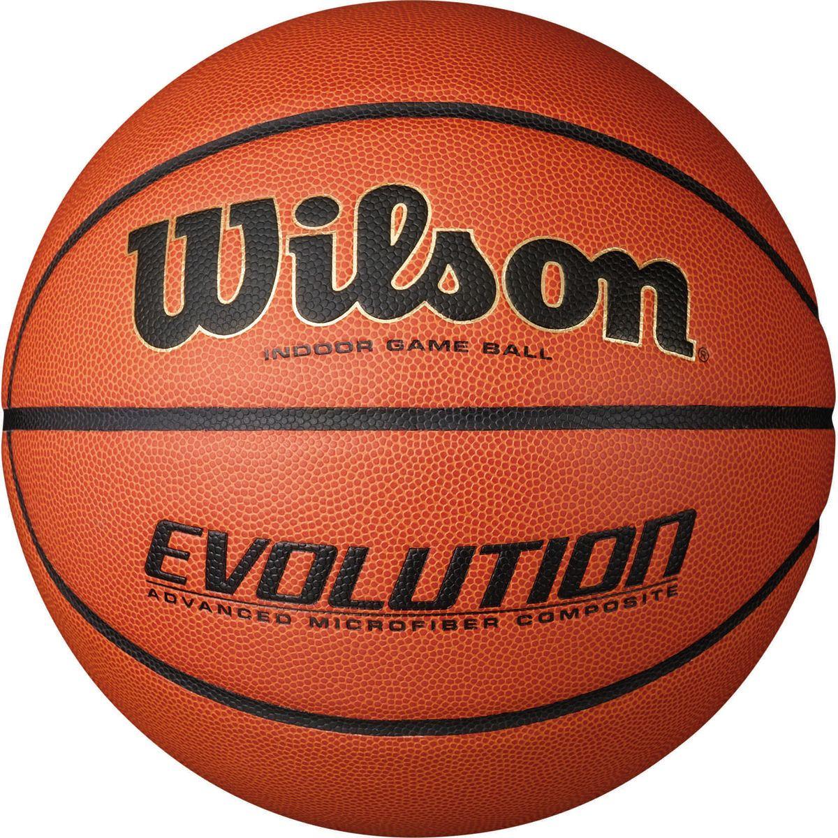 Мяч баскетбольный Wilson Evolution, цвет: коричневый, размер 7