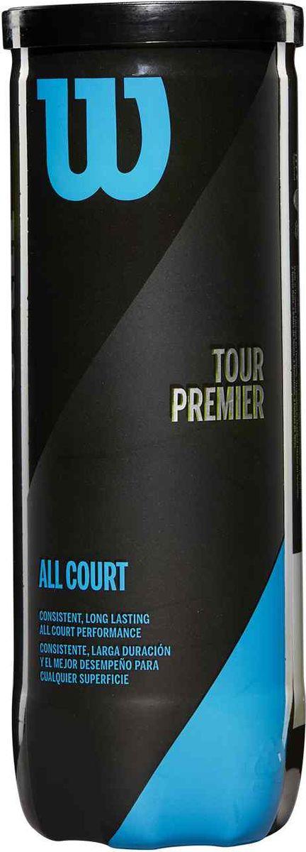 Мяч теннисный Wilson Tour Premier All Ct 3 Ball Can, WRT109400, желтый мячи теннисные wilson australian open 3 ball