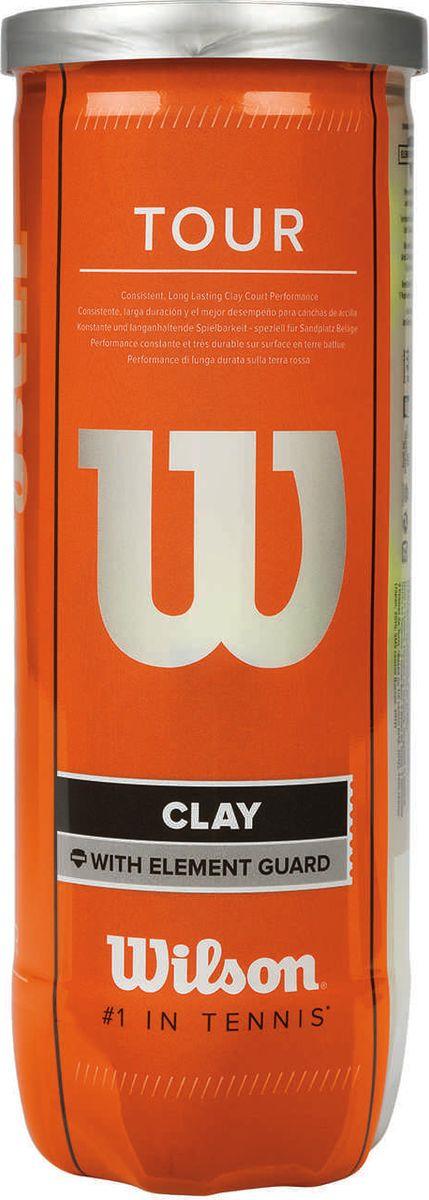 Мяч теннисный Wilson Tour Clay, WRT108900, желтый, 3 шт мячи теннисные wilson australian open 3 ball