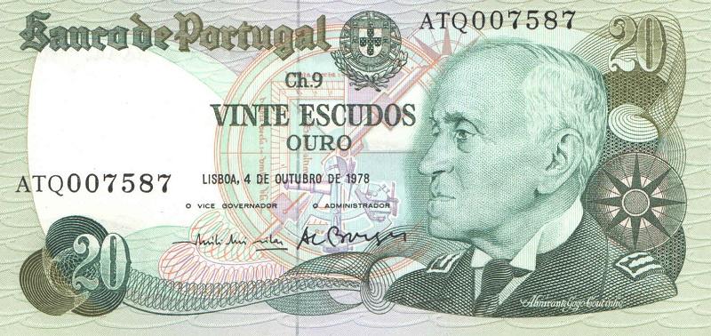 Банкнота номиналом 20 эскудо. Португалия. 1978 год цена