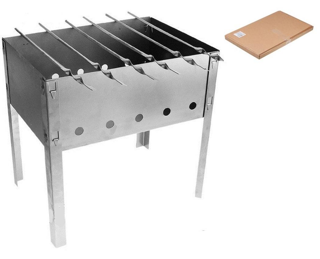 Мангал Эконом 6 шампуров, сталь 0,35мм (коробка)