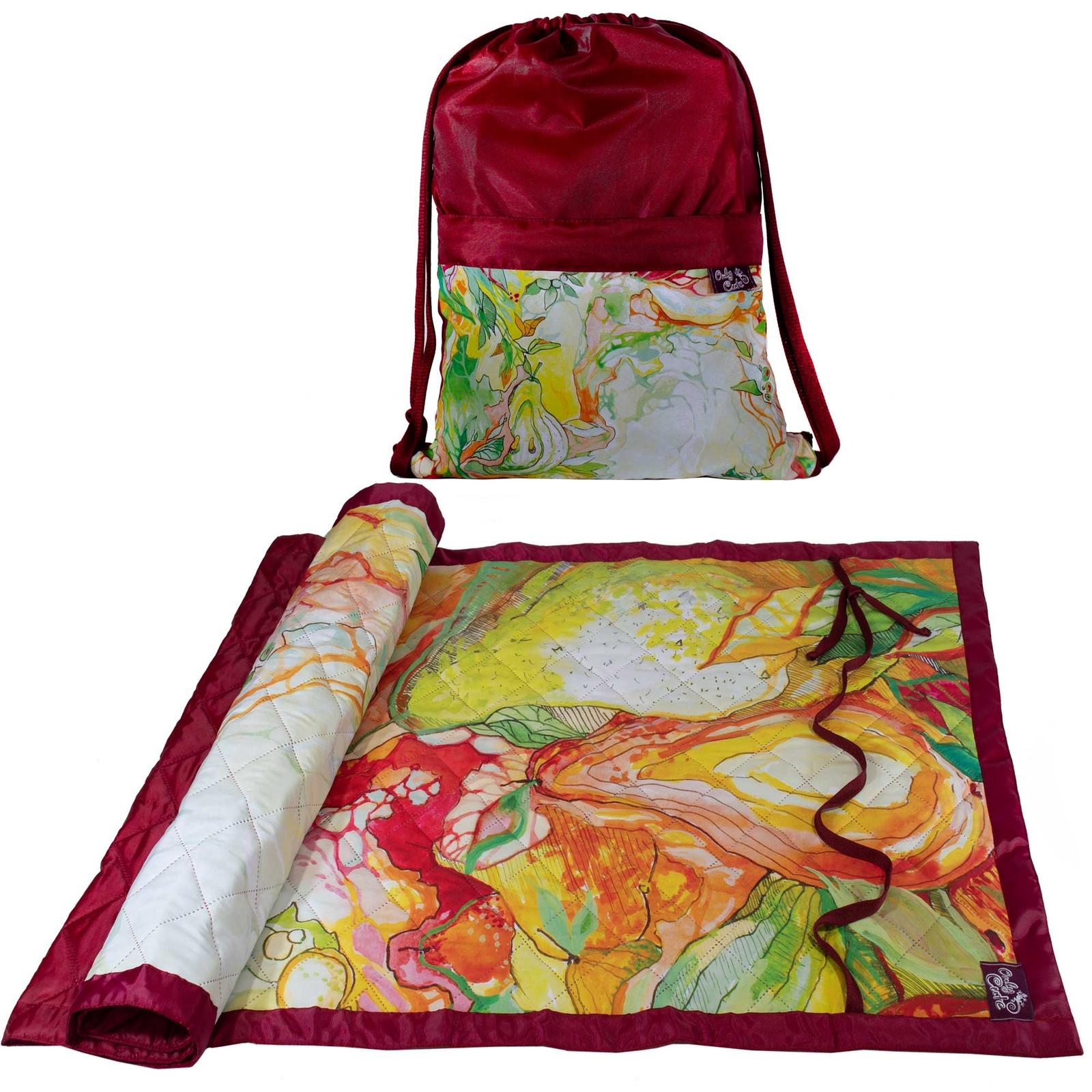 Одноместный коврик в рюкзаке OnlyCute Сказочный сад бордо