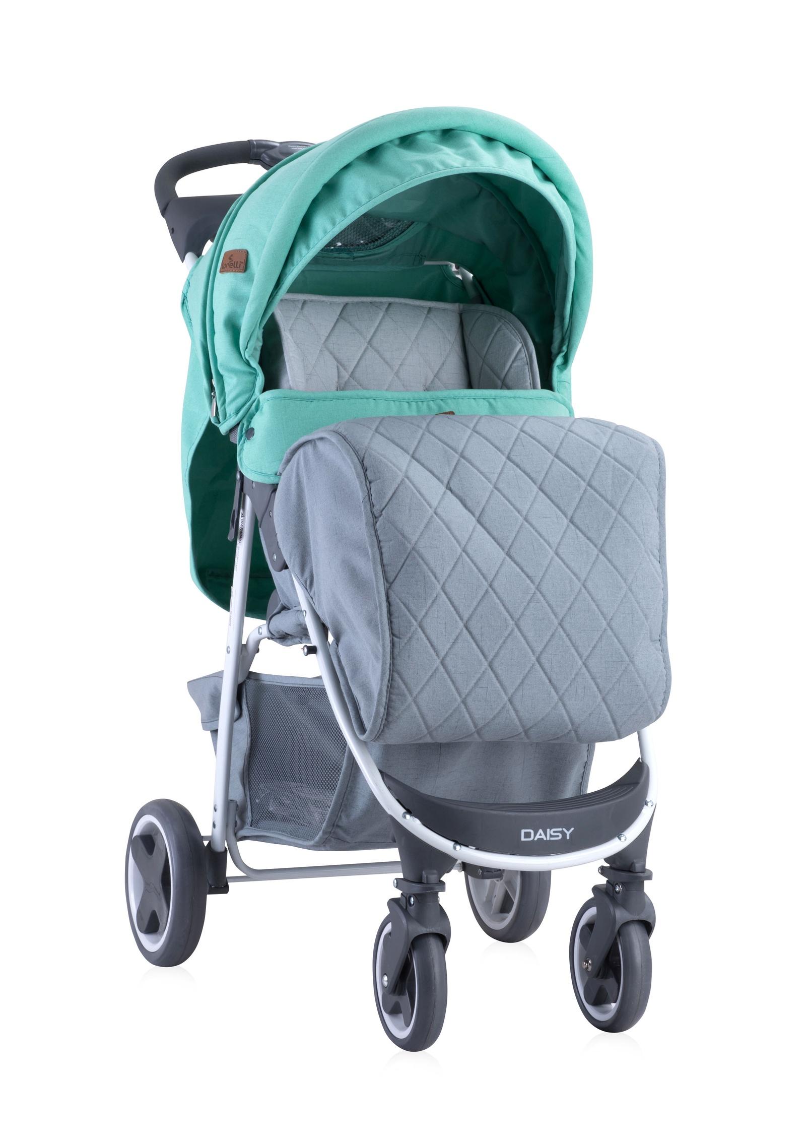 Прогулочная коляска Lorelli Daisy с накидкой на ножки цвет зелено-серый, Green&Grey
