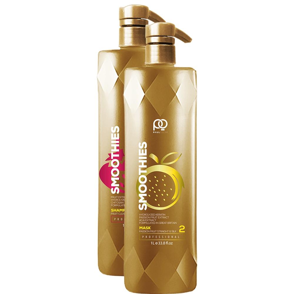 Набор для кератинового выпрямления волос Paul Oscar Smoothies Smooth & Silky Passion Fruit Набор 1000 ml