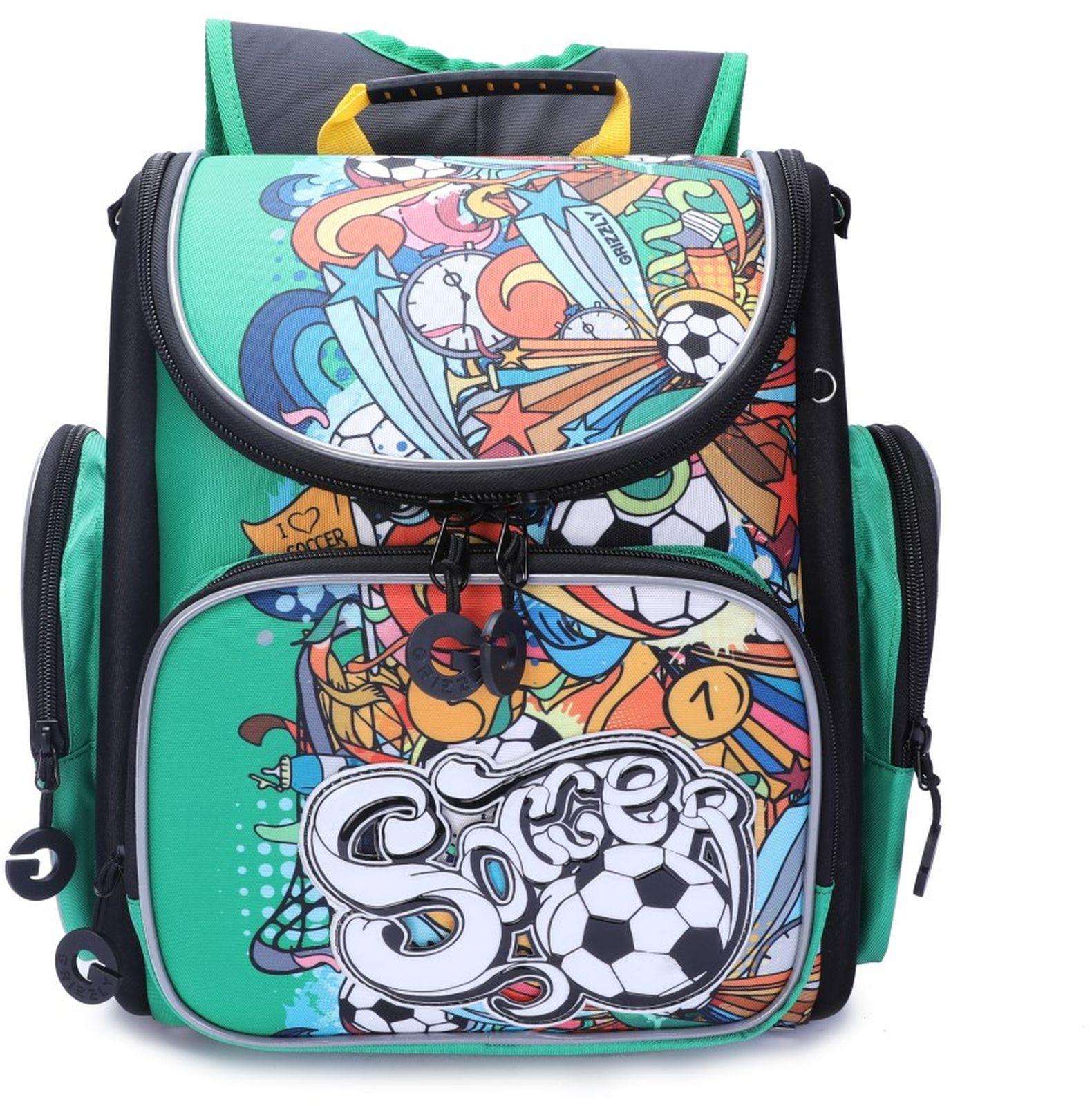 Рюкзак школьный Grizzly, RA-970-6/2, зеленый, черный