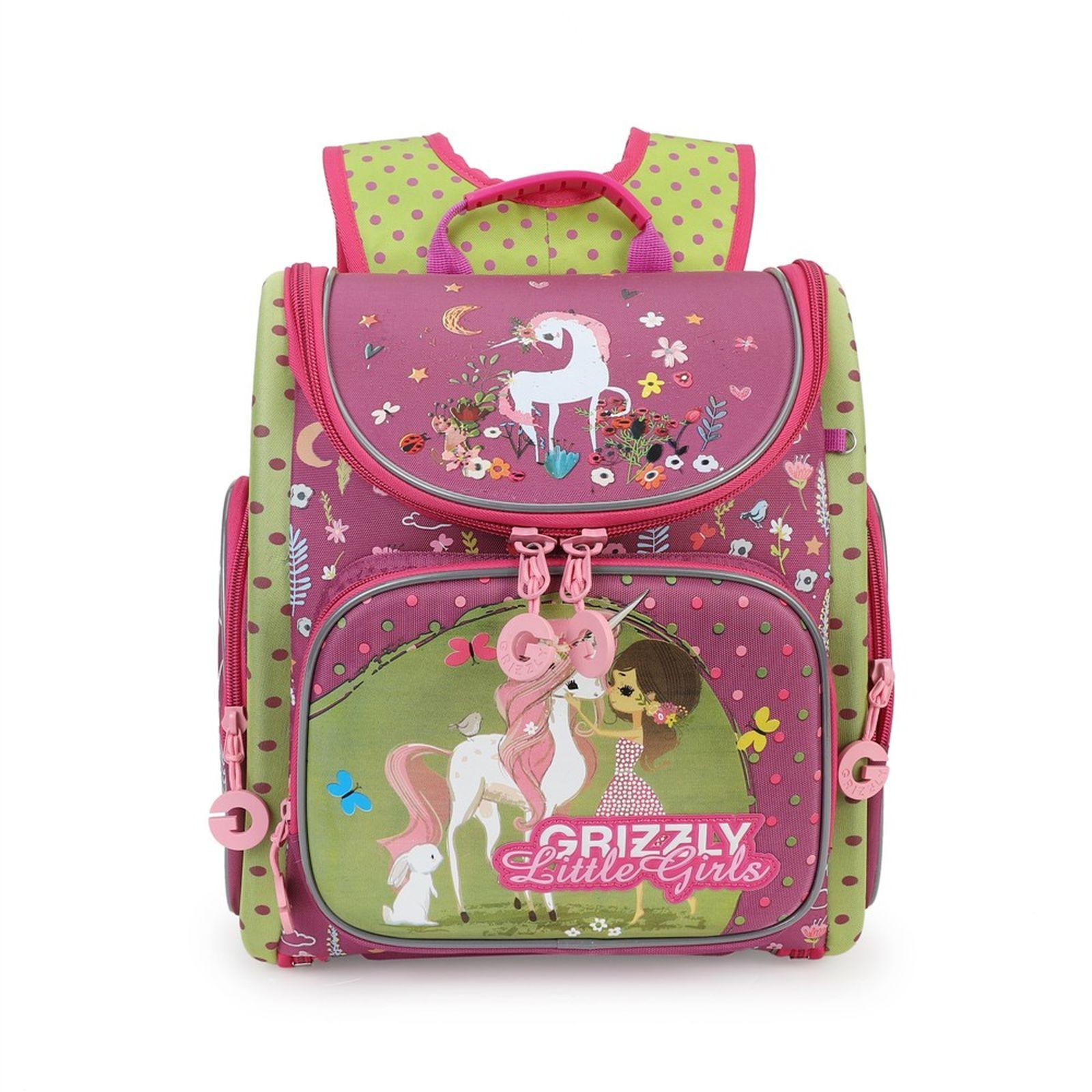 Рюкзак школьный Grizzly, RA-971-1/2, фуксия, салатовый