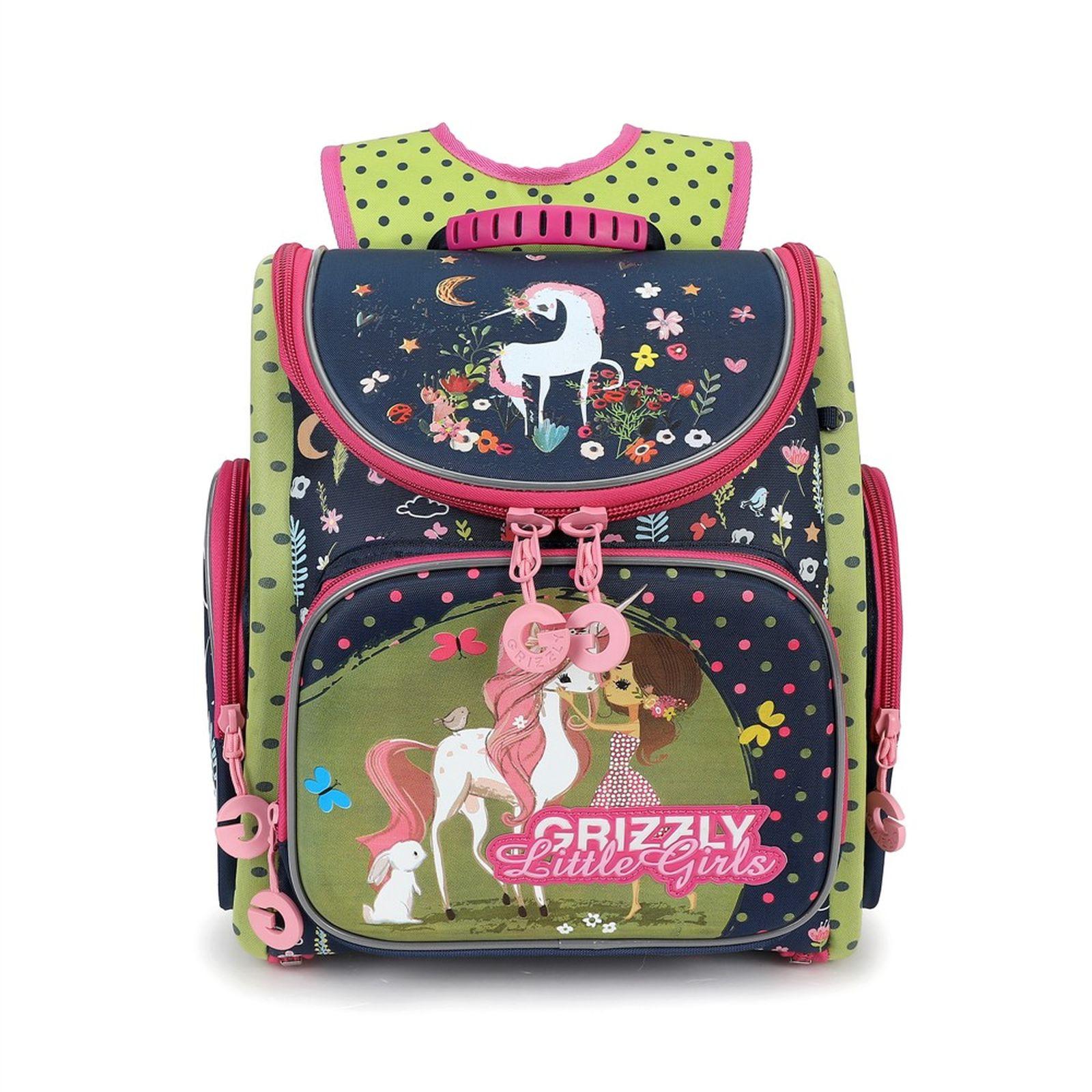 Фото - Рюкзак школьный Grizzly, RA-971-1/1, салатовый, темно-синий рюкзак школьный grizzly ra 780 1 1