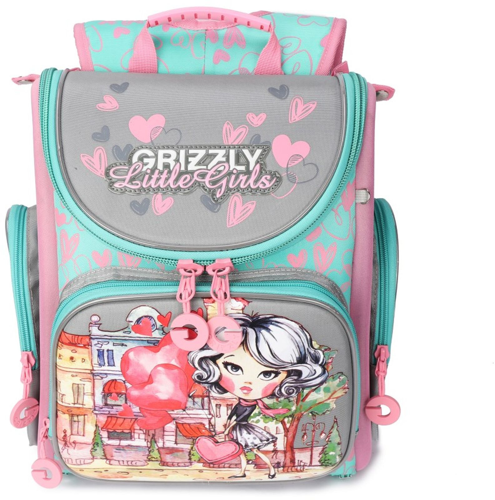 Рюкзак школьный Grizzly, RA-971-3/1, розовый, серый
