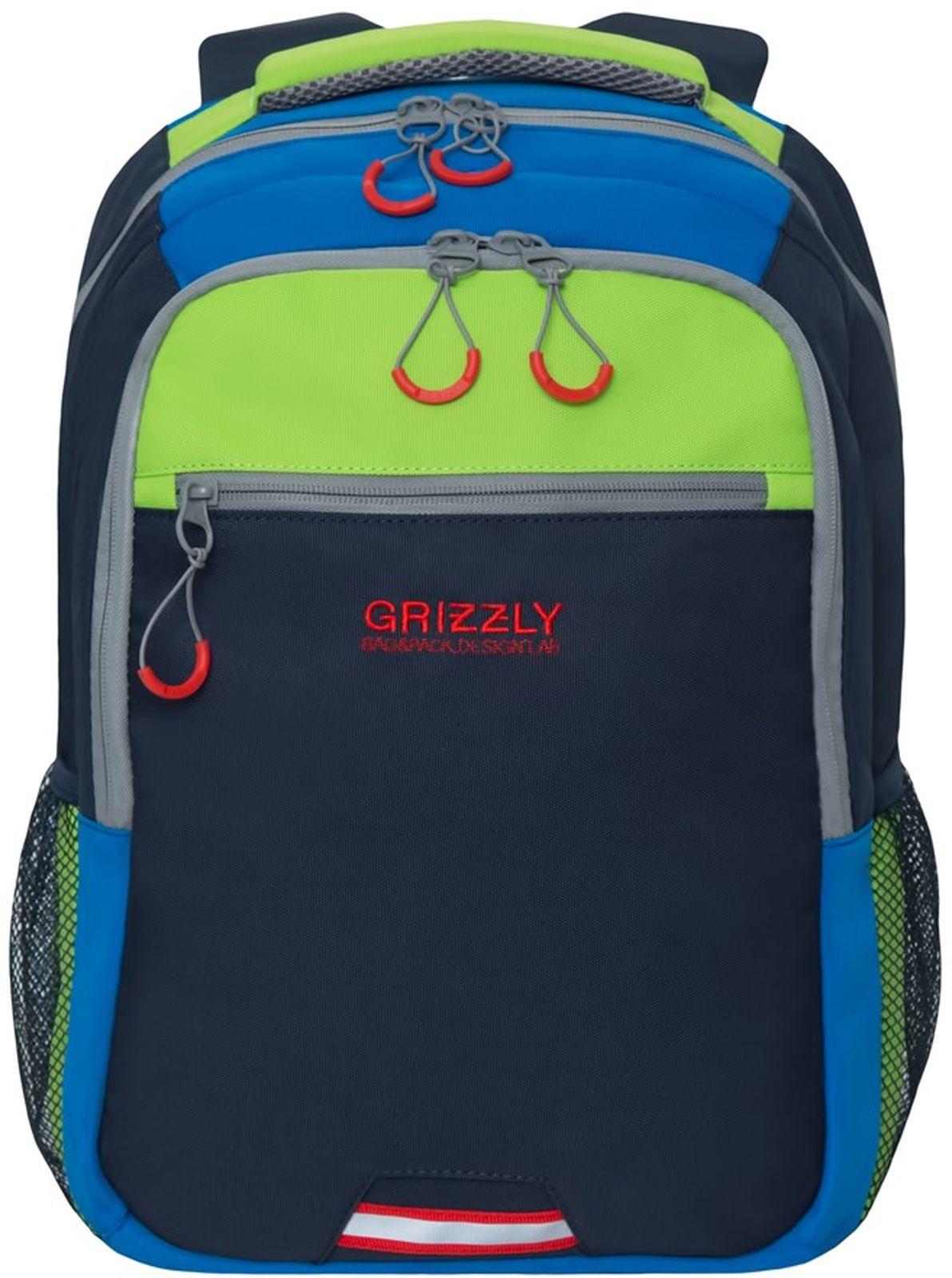 Рюкзак Grizzly, RU-922-3/3, салатовый, синий рюкзак grizzly ru 804 3 2 black lime green