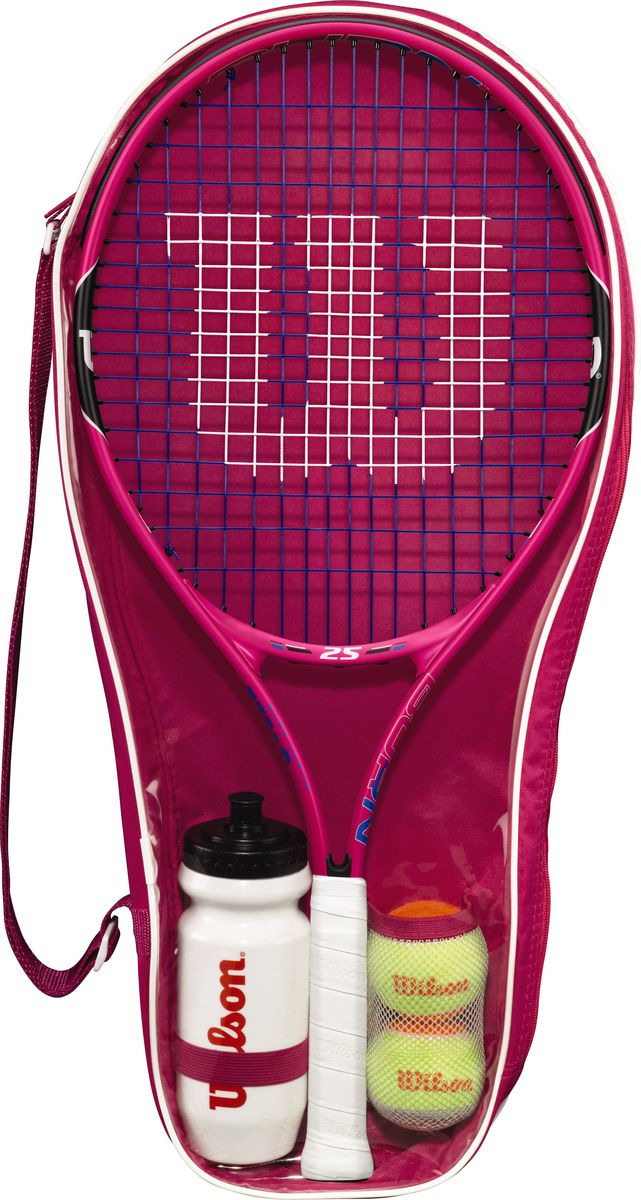 Ракетка для большого тенниса Wilson Burn Pink Starter Set 25, WRT219000, розовый