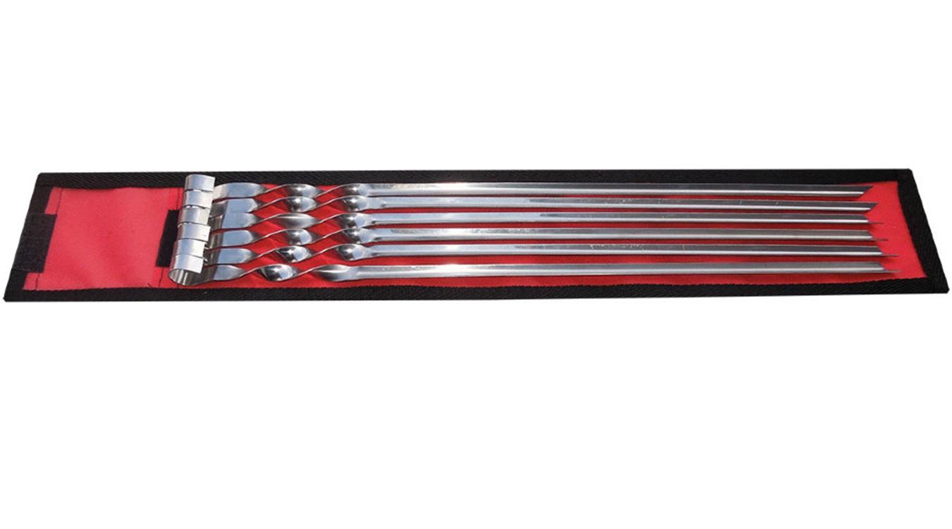 Набор прямых шампуров 550мм 6 шт в чехле