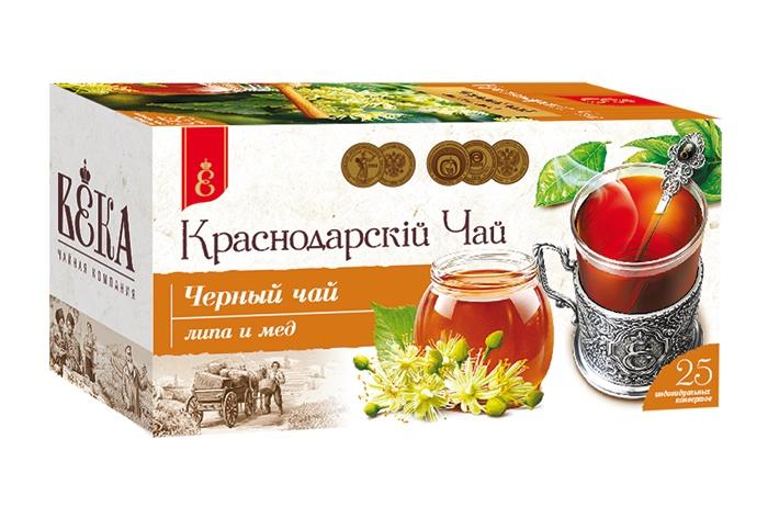Чай черный Липа и мед пакетированный, Краснодарский чай ВЕКА, (25 шт.)
