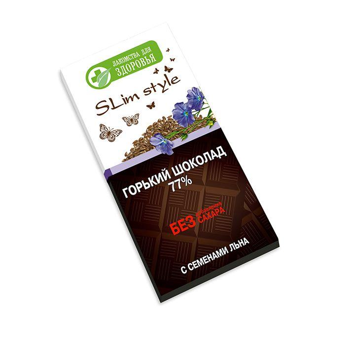 Шоколад горький Лакомства для здоровья Slim style, со льном, 60 г цена