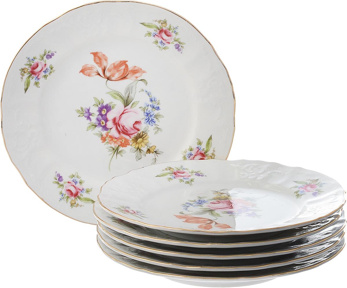 Набор тарелок десертных Thun 1794 a.s. Мейсенский букет, БТФ0256, диаметр 19 см, 6 шт