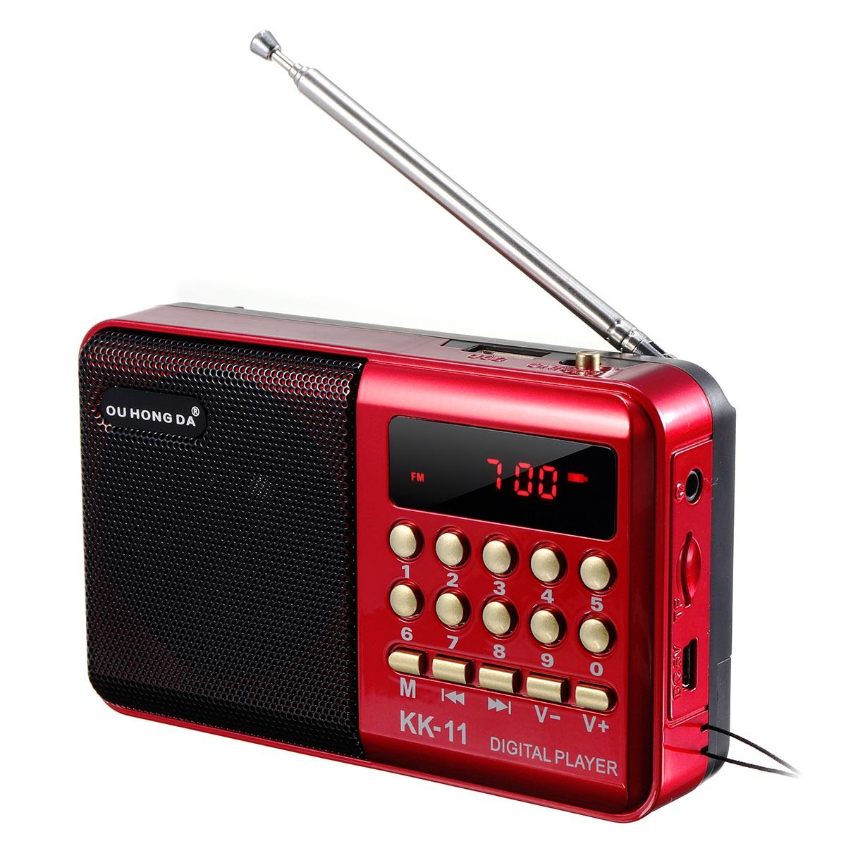 Мини портативный радиоприемник ЖК-Цифровой FM USB TF MP3-плеер Динамик Аккумуляторная
