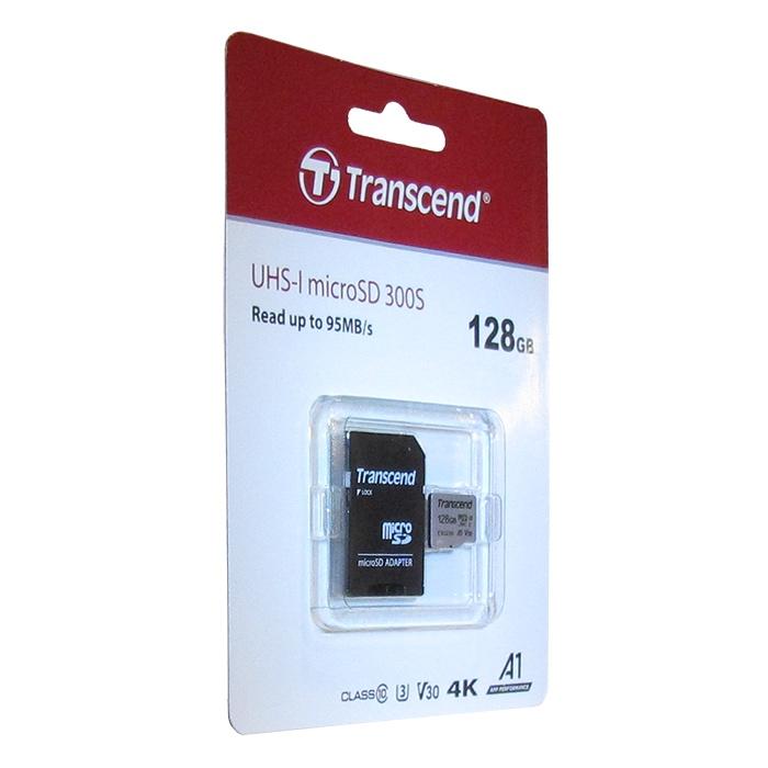 Флеш карта microSD 128GB Transcend microSDXC Class 10 UHS-I U3, V30, A1, (SD адаптер), TLC флеш карта м