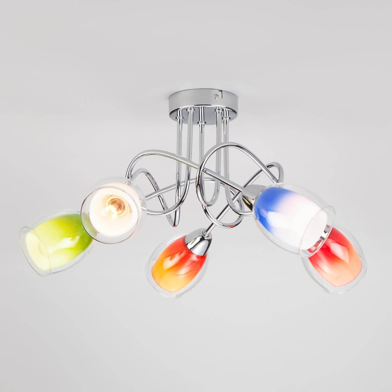 все цены на Потолочный светильник EUROSVET 2267/5 хром, E14, 40 Вт онлайн