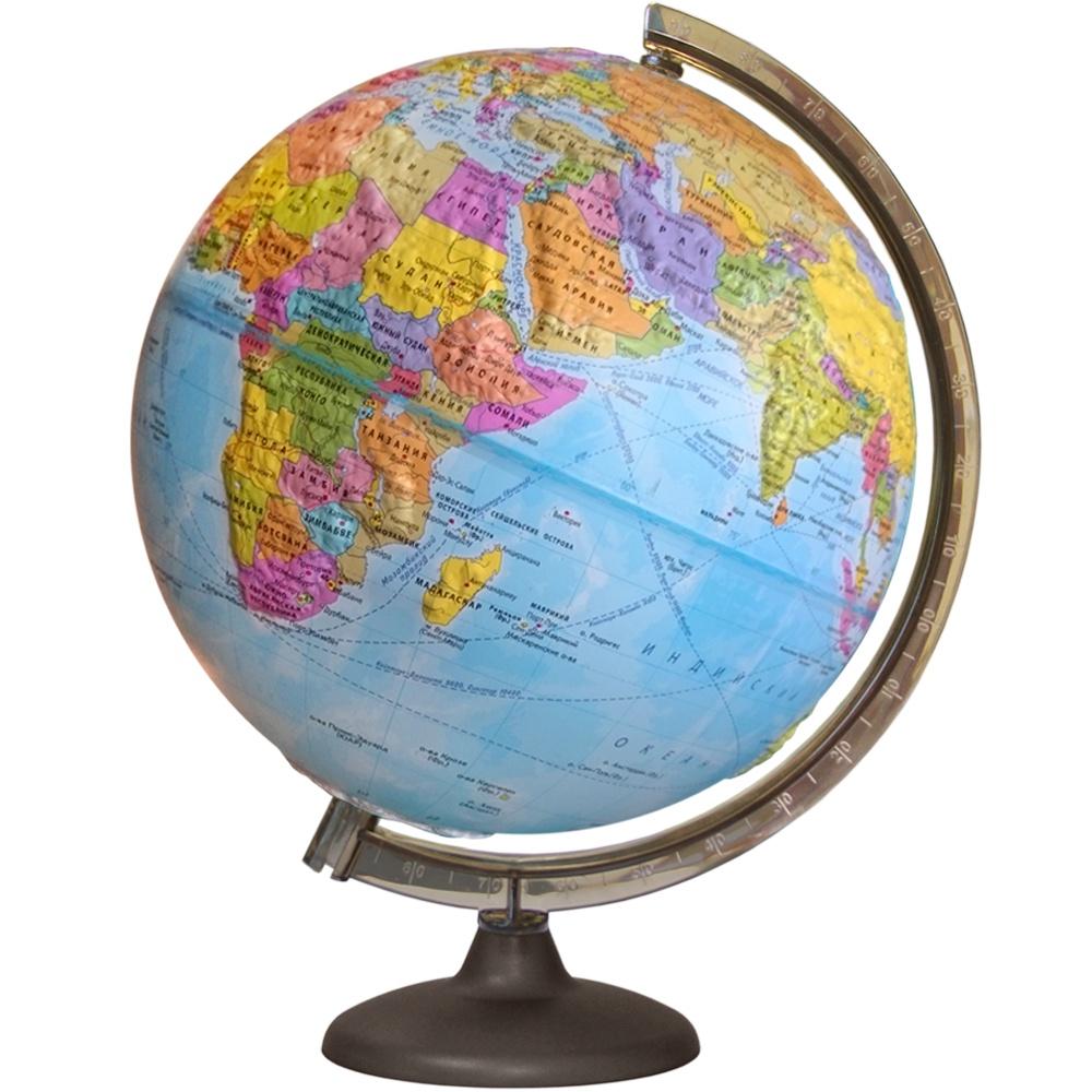Глобусный мир Глобус с политической картой мира рельефный, диаметр 42 см