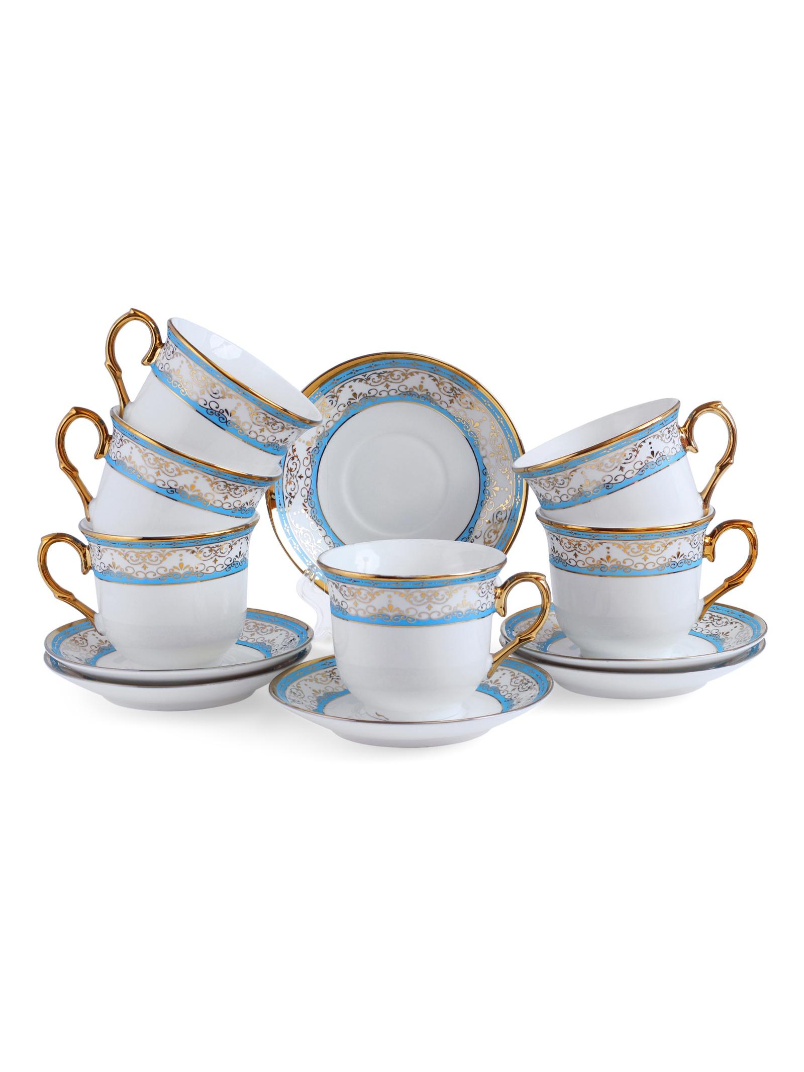 Набор чайный JEWEL Империал 12 предметов голубой (фарфор), 6 шт/уп