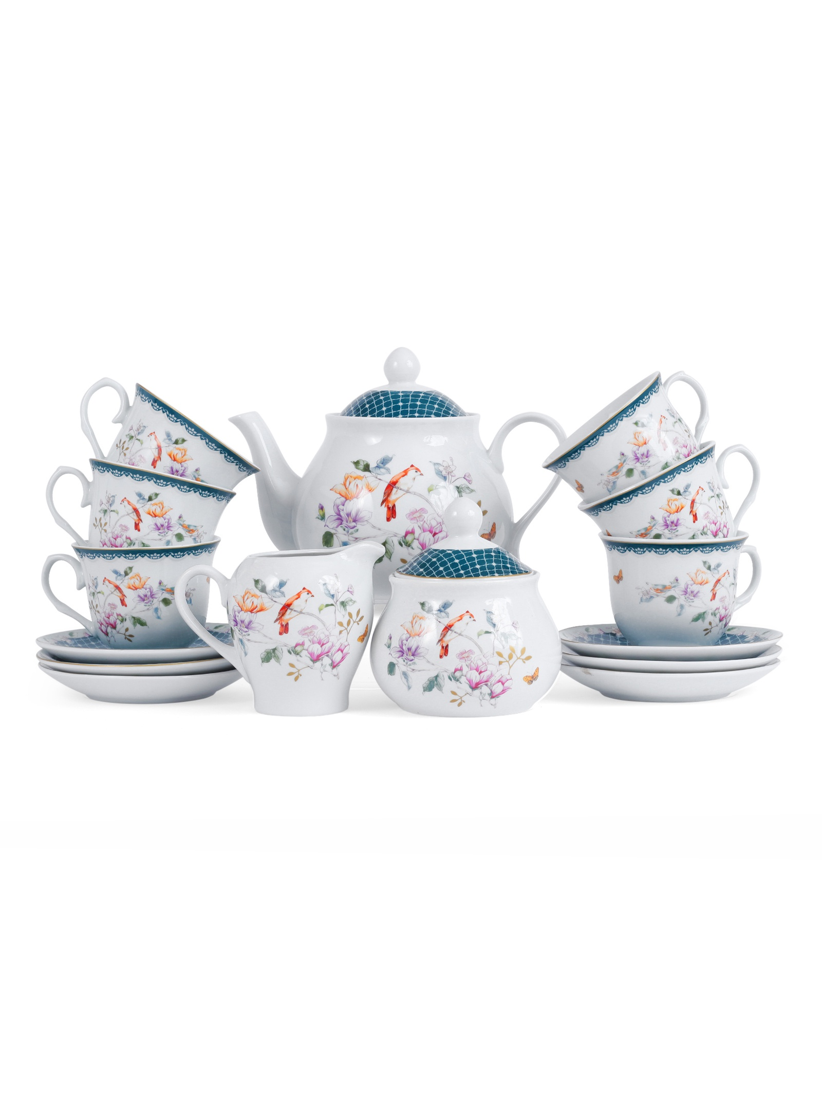 Набор чайный JEWEL Доротея 15 предметов (фарфор), 4 шт/уп nouvelle набор чашек кошки 230 мл