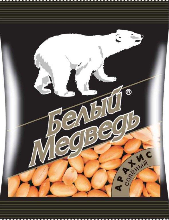 Арахис соленый жареный Белый медведь 100 гр peyman арахис жареный соленый 40 г