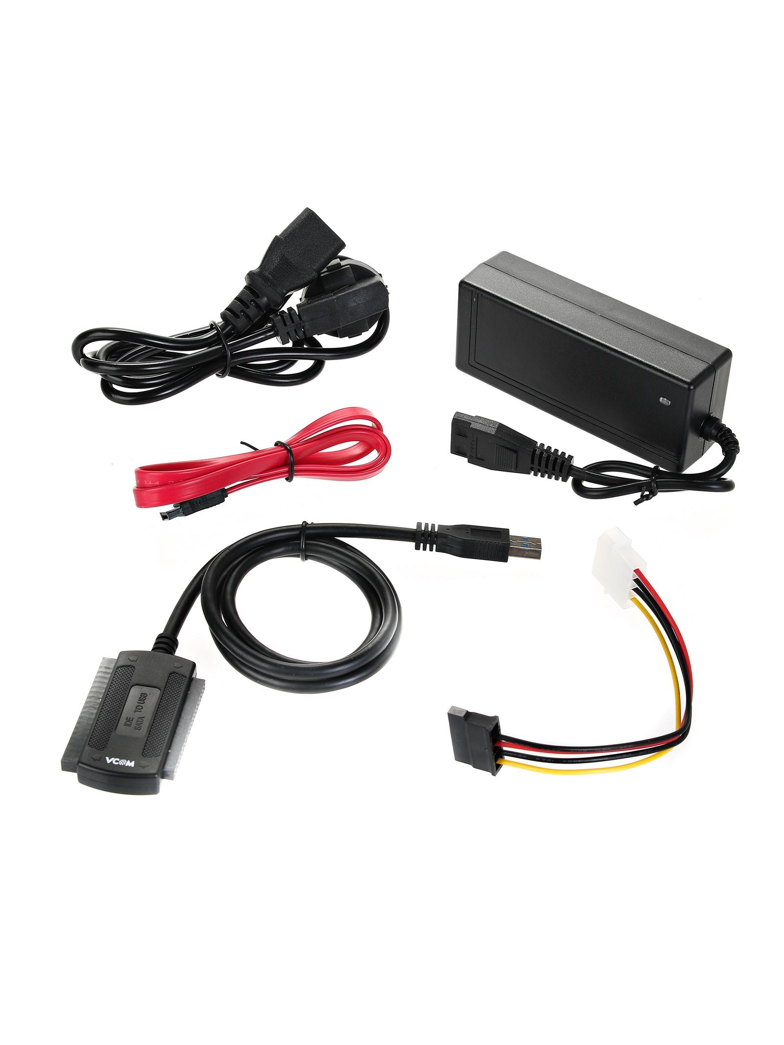 Адаптер USB3.0 - SATA/IDE (2.5/3.5) , внешний БП с кабелем питания и USB-кабелем, VCOM (CU814) адаптер c7 sata ide 44p 2 5 sata ide 2 5