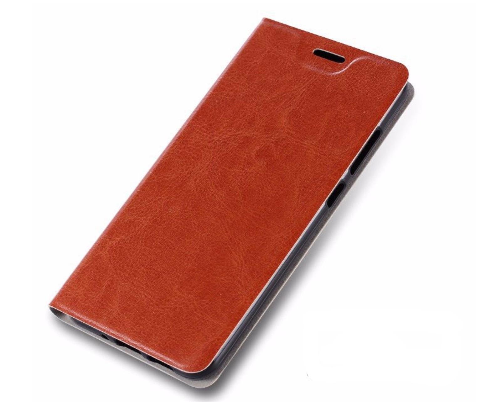 Чехол-книжка MyPads для Sony Xperia M4 Aqua на жёсткой металлической основе коричневый