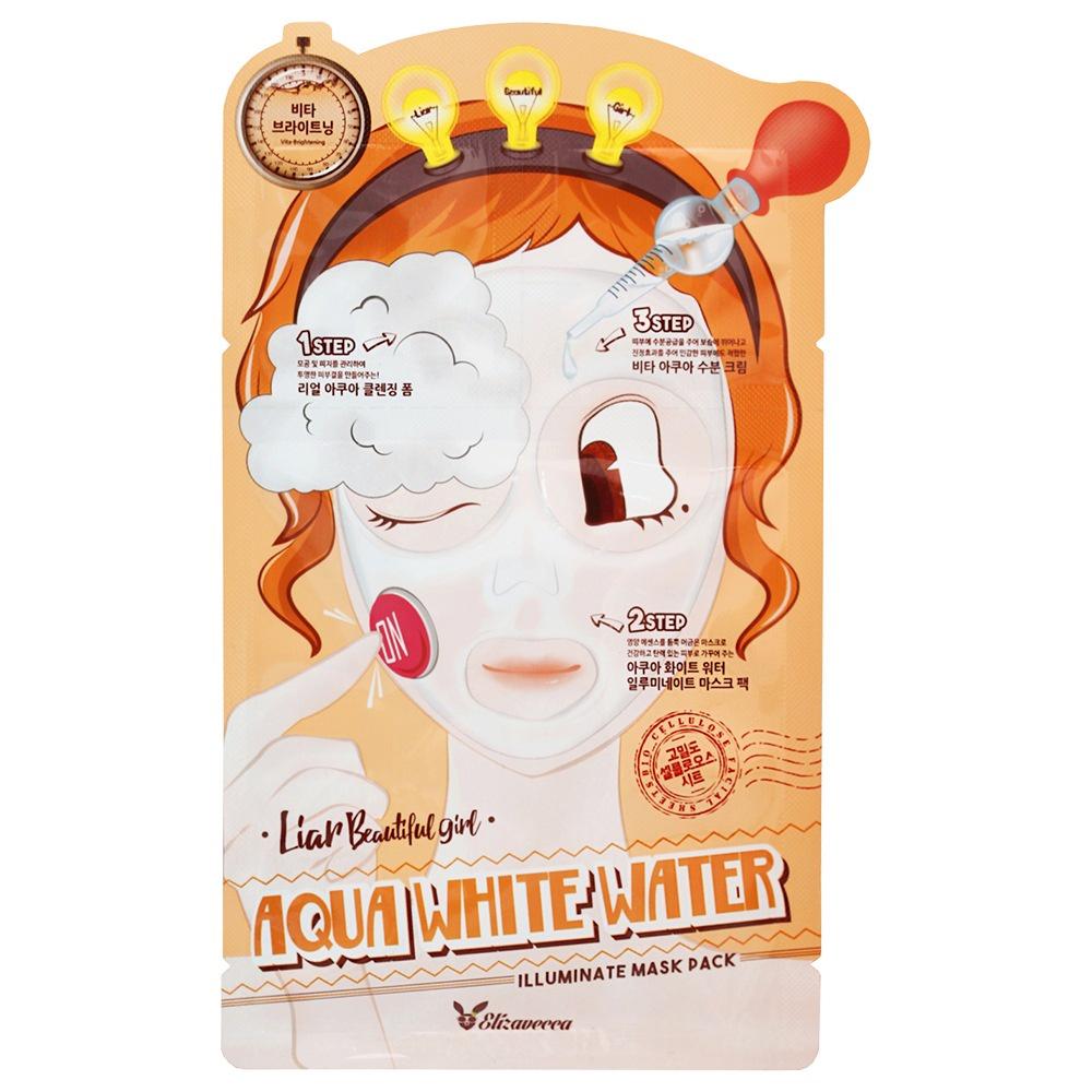 Elizavecca маска для лица увлажняющая 3 этапа 3-Step Aqua White Water Illuminate Mask Sheet, 1 шт. дарен расширенный любопытство ремонт комплект 20шт мужские и женские маски маски вода осветляет цвет лица подтягивающая маска