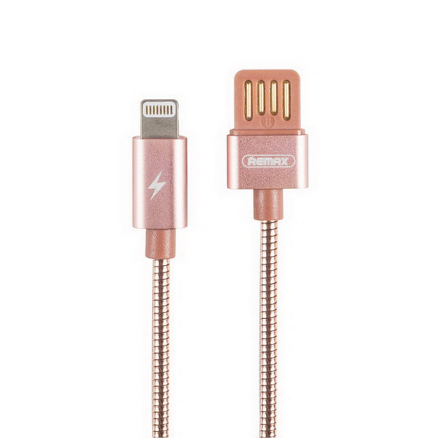Кабель Remax Silver Serpent RC-080i lightning/USB, розовый аксессуар remax knight rc 043i usb lightning для iphone 5 6 7 black