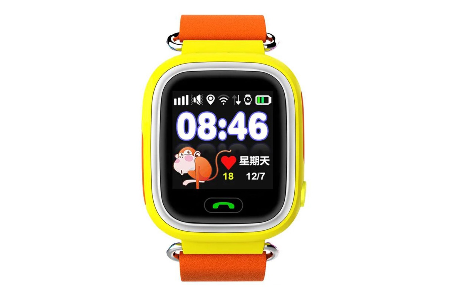 Часы Smart Baby Watch Q90 с сенсорным экраном - оранжевый q100 q750 smart watch phone baby children kids gps tracker 1 54 touch screen wifi location sos anti lost device safe pk q50 q90