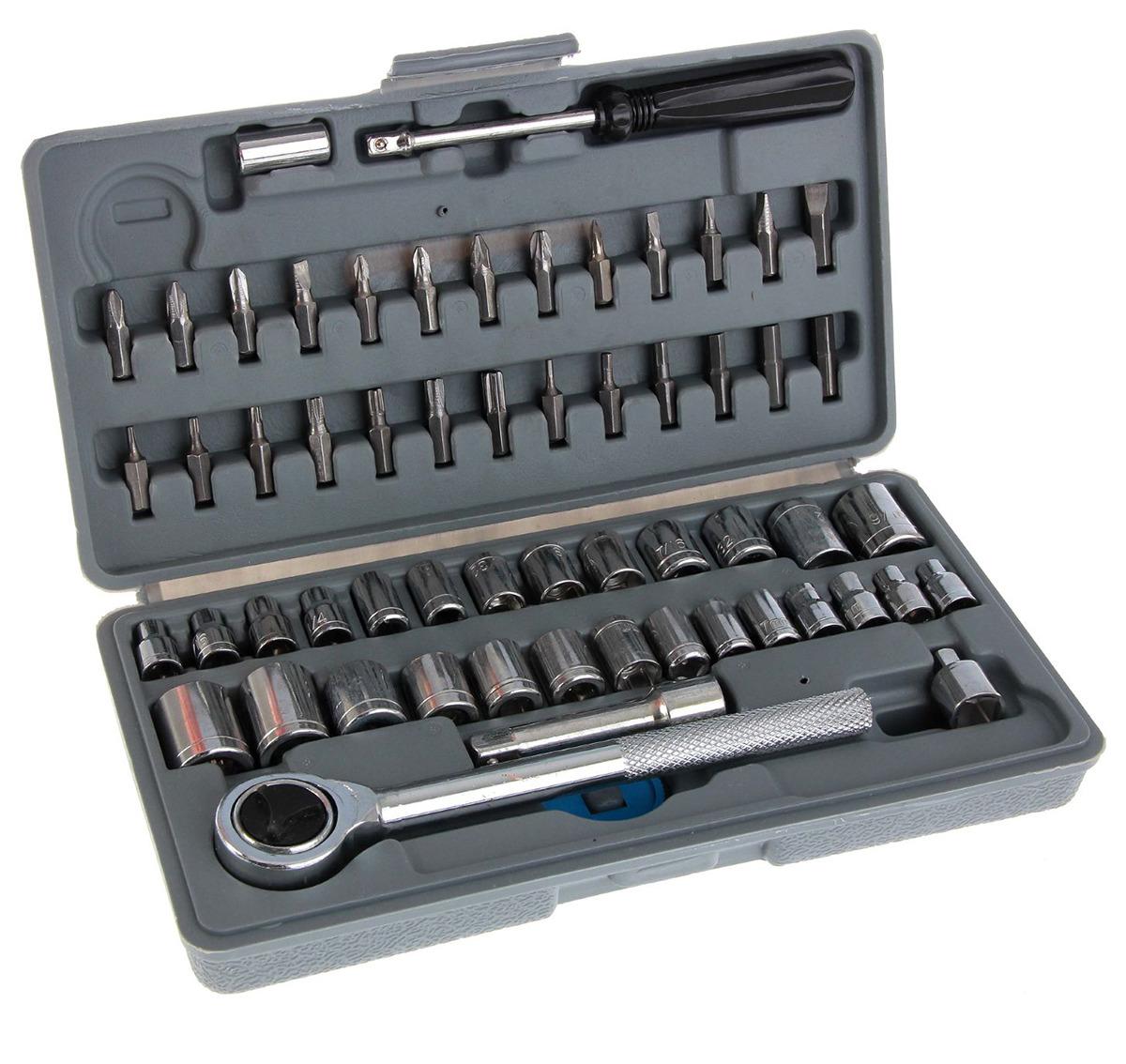 Набор инструментов Tundra Basic, универсальный, в кейсе, 881853, 60 предметов набор торцевых головок и бит stels 1 4 57 предметов 14101