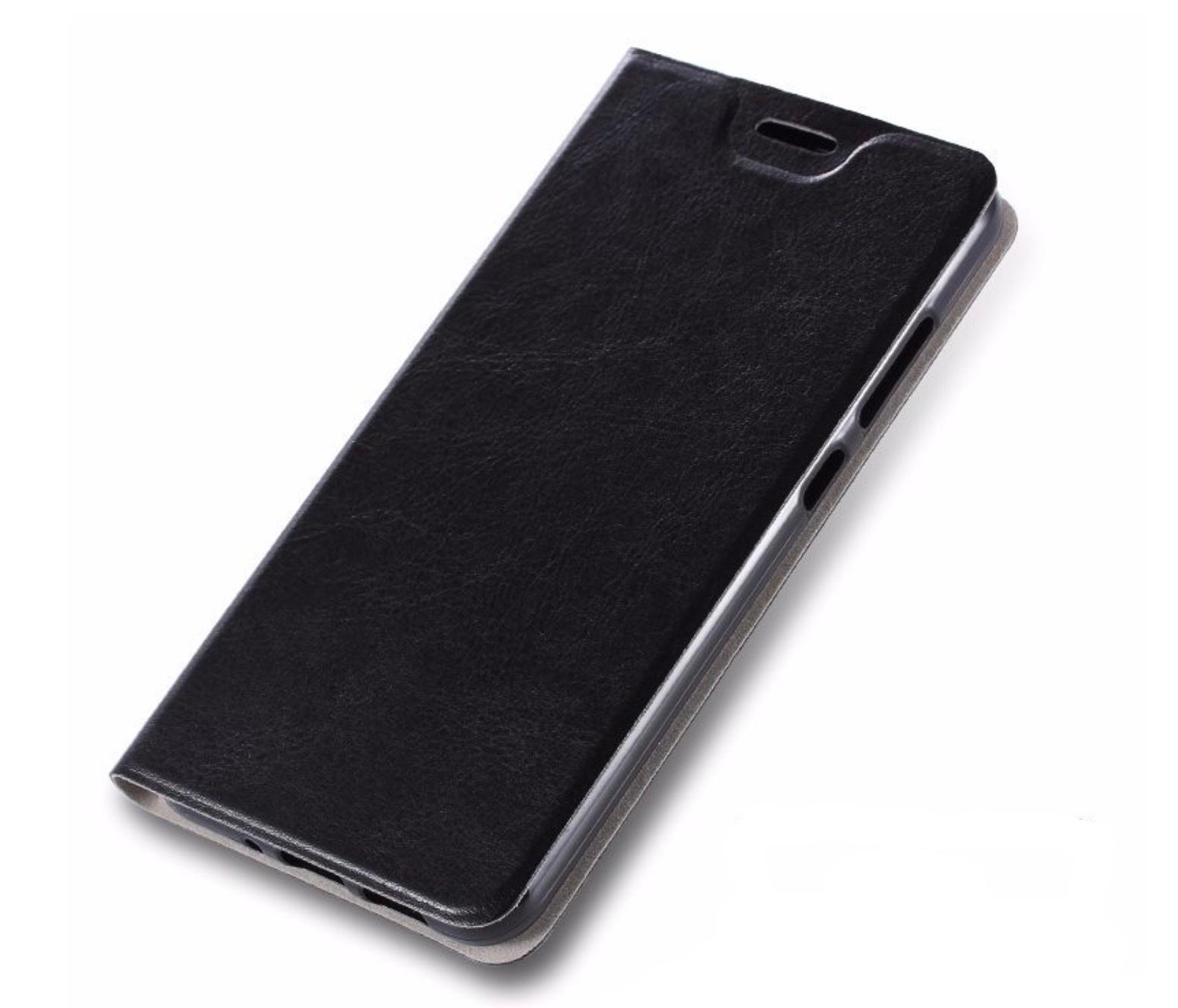 Чехол-книжка MyPads для Sony Xperia M4 Aqua на жёсткой металлической основе черный