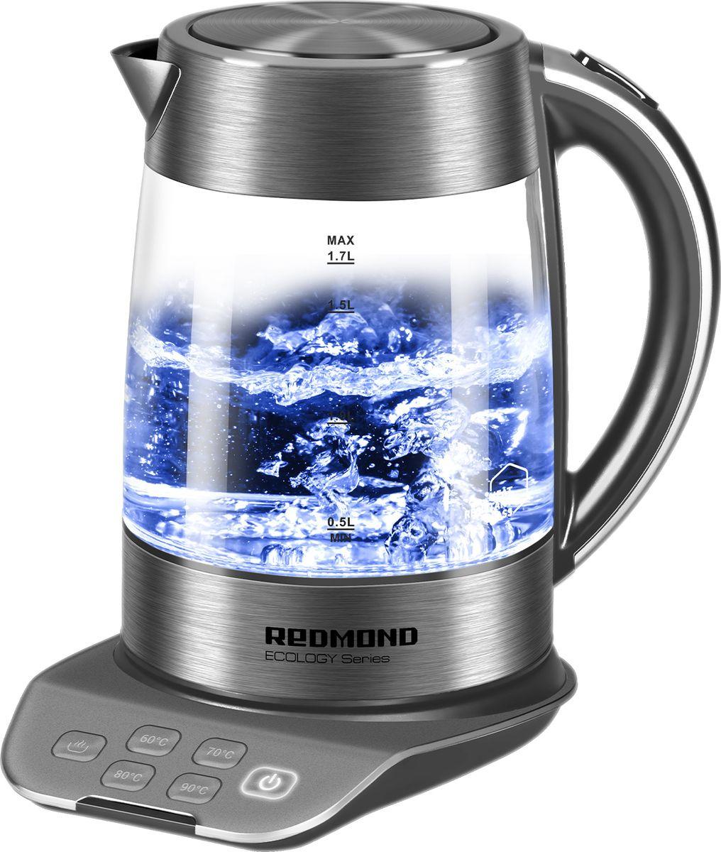 Электрический чайник Redmond RK-G1302D, серый, прозрачный
