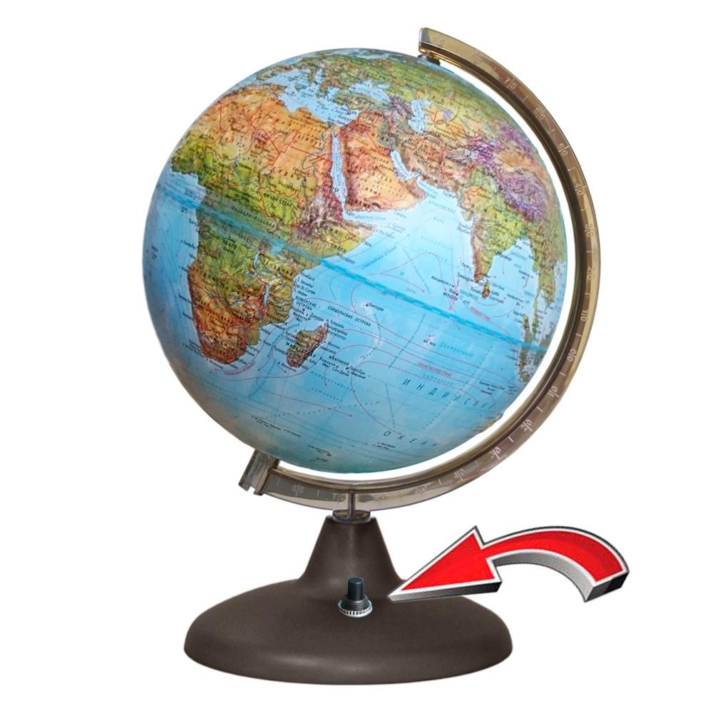 все цены на Глобусный мир Глобус Земли Двойная карта рельефный с подсветкой диаметр 21 см онлайн