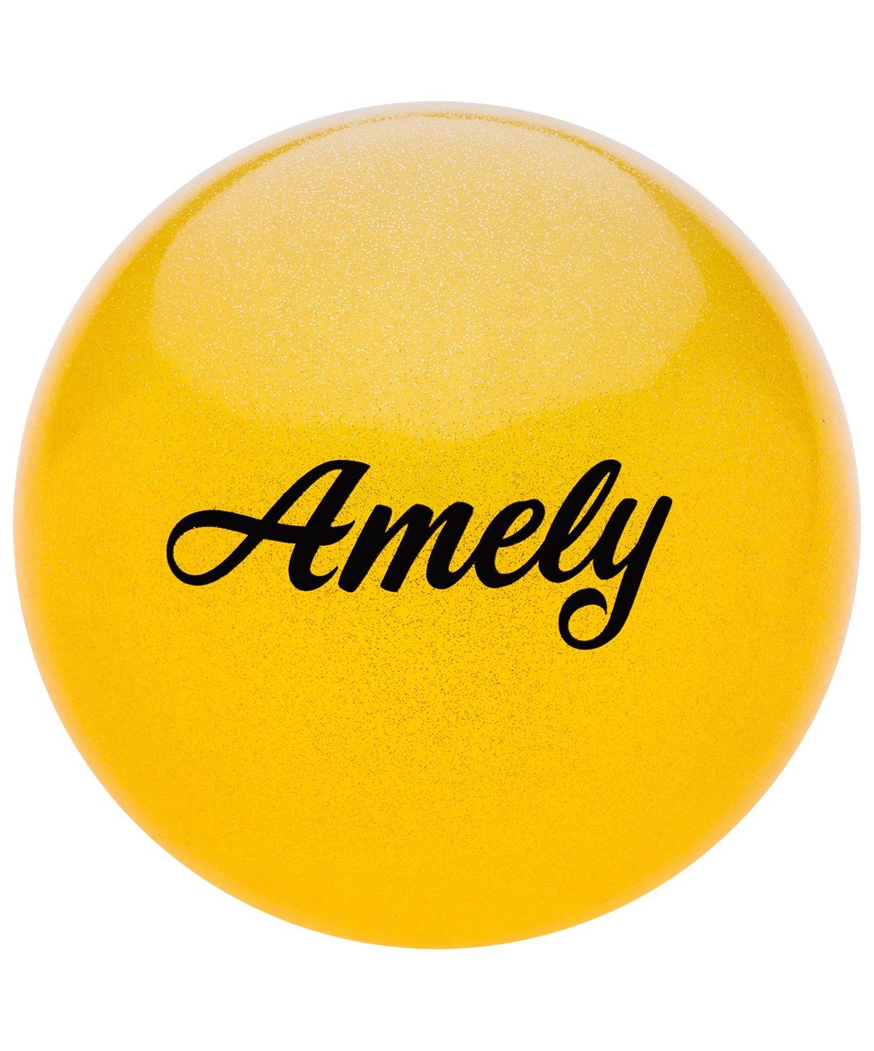 Мяч для художественной гимнастики Amely Agb-102, 15 см, желтый, с блестками мяч для художественной гимнастики indigo силиконовый цвет фуксия диаметр 15 см