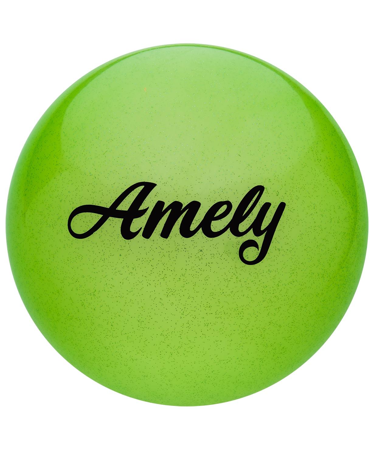 Мяч для художественной гимнастики Amely Agb-102, 15 см, зеленый, с блестками мяч для художественной гимнастики indigo силиконовый цвет фуксия диаметр 15 см