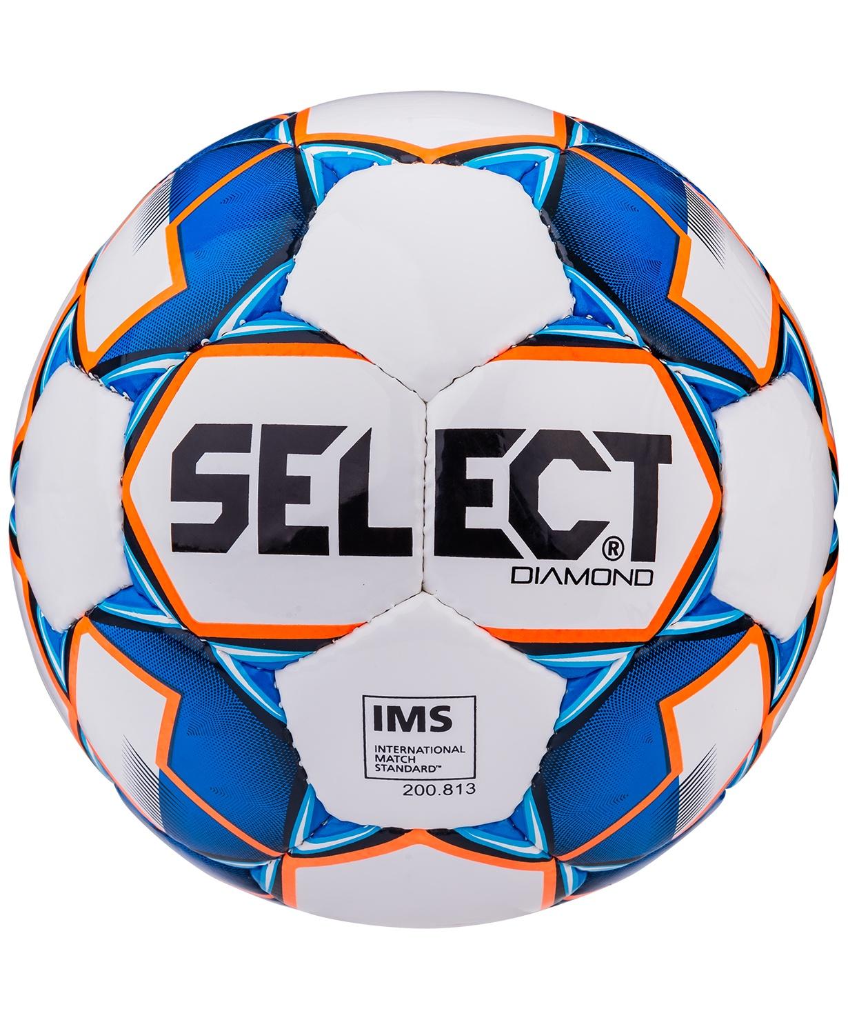 Мяч футбольный Select Diamond IMS, Размер 5, белый/синий/оранжевый (5)