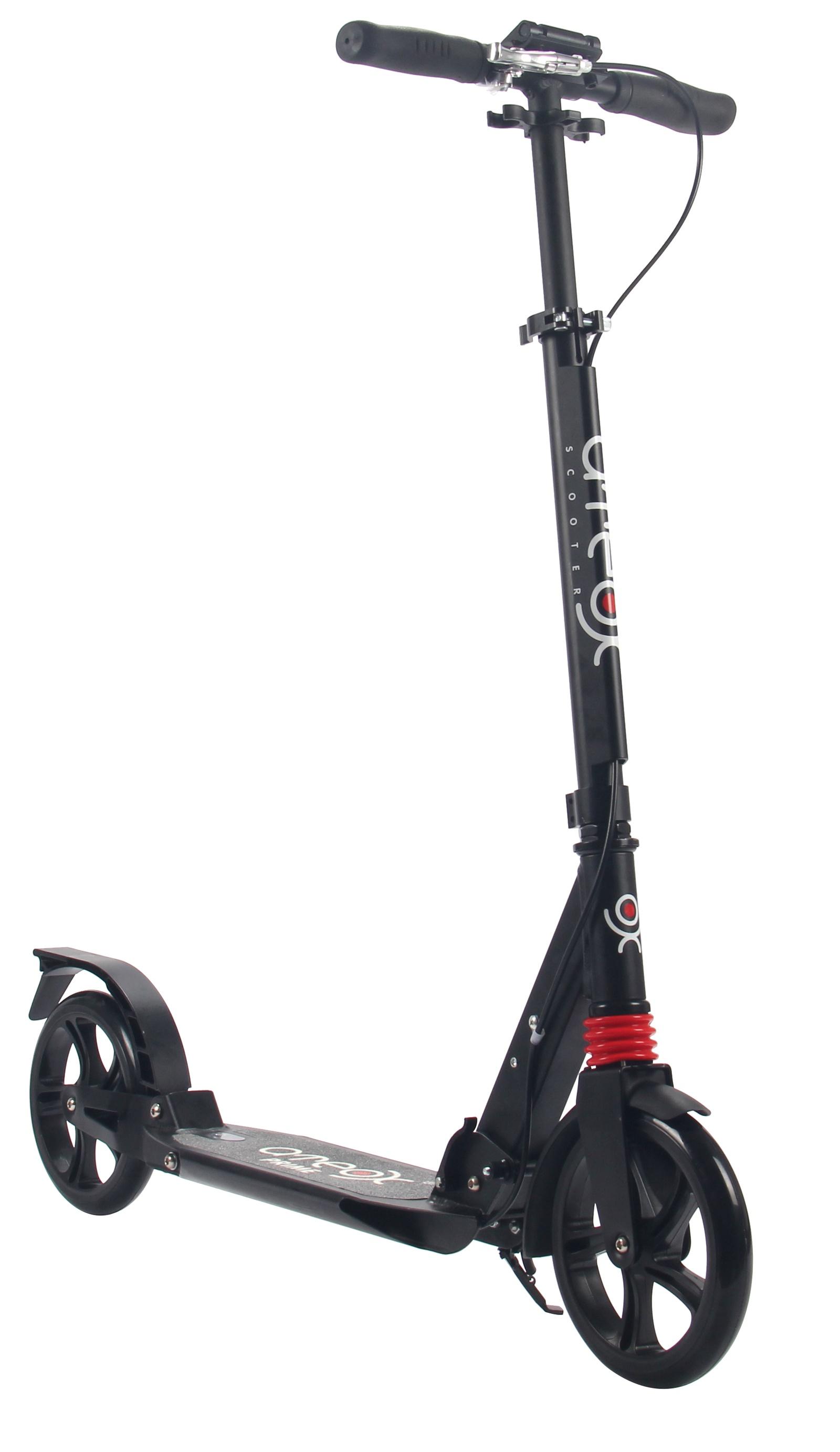 Самокат для взрослых Ateox PRIME с большими колесами и ручным тормозом (Черный)