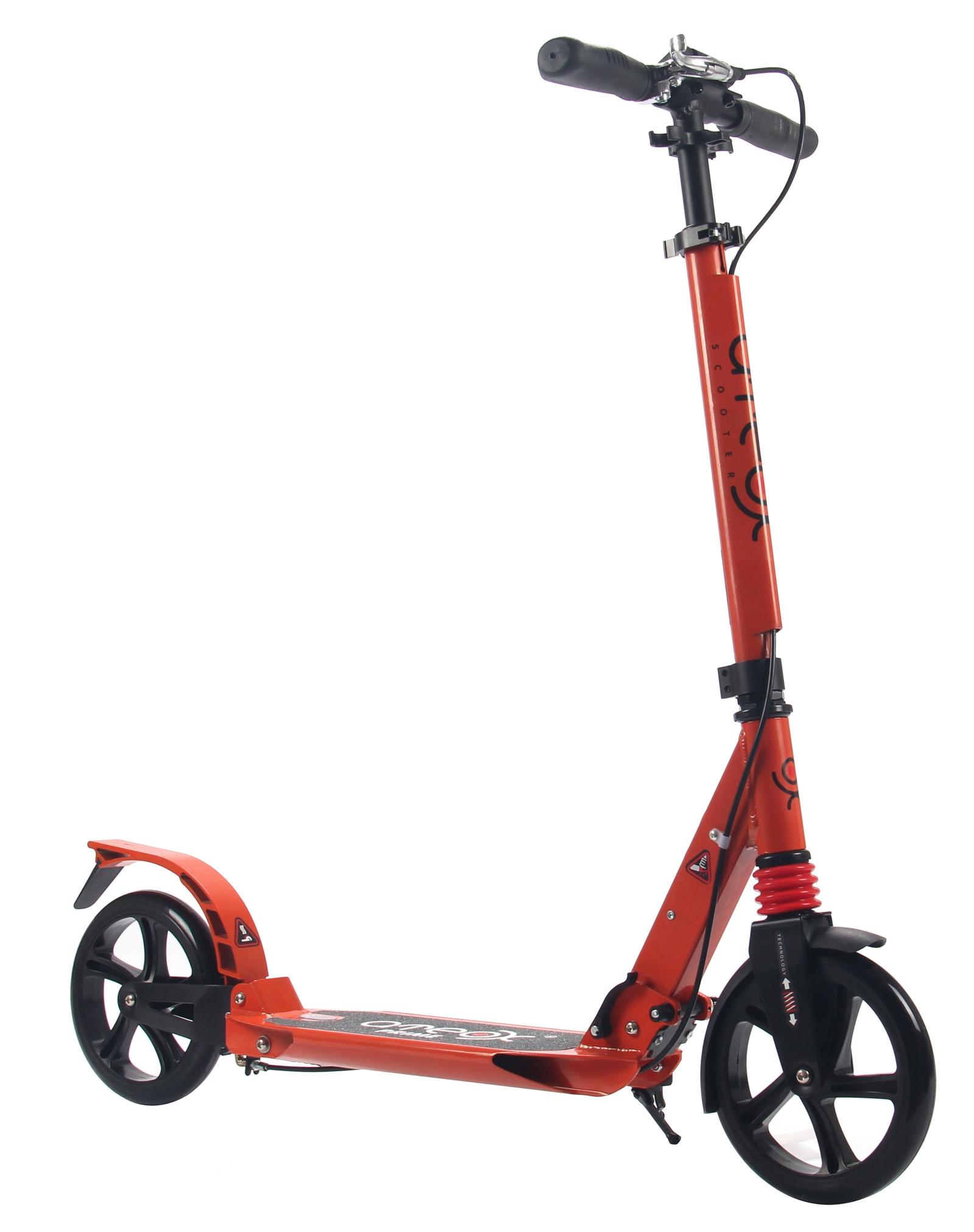 Самокат для взрослых Ateox PRIME с большими колесами и ручным тормозом (Оранжевый)