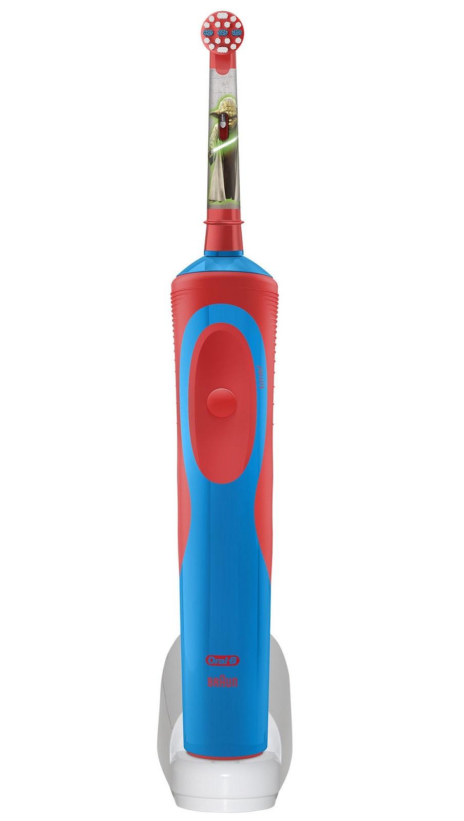 Электрическая зубная щетка Oral-B Vitality D12 Stages Power, с 3 лет, синий, красный электрическая зубная щетка braun oral b vitality d12 513k stages power starwars