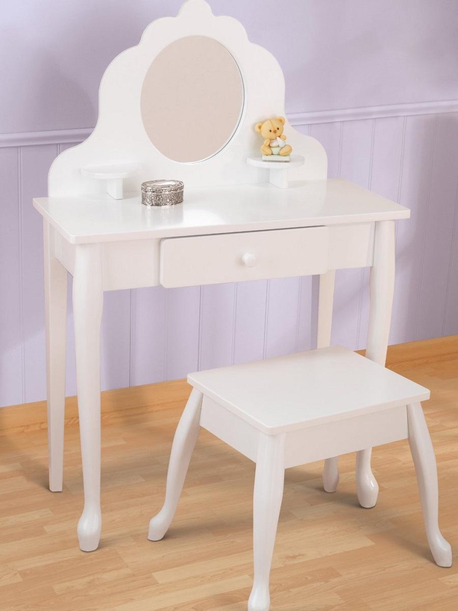 все цены на Белый туалетный столик из дерева для девочки