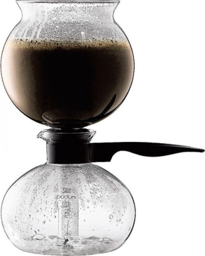 лучшая цена Кофеварка вакуумная Bodum Pebo, 1208-01, прозрачный, черный, 1 л