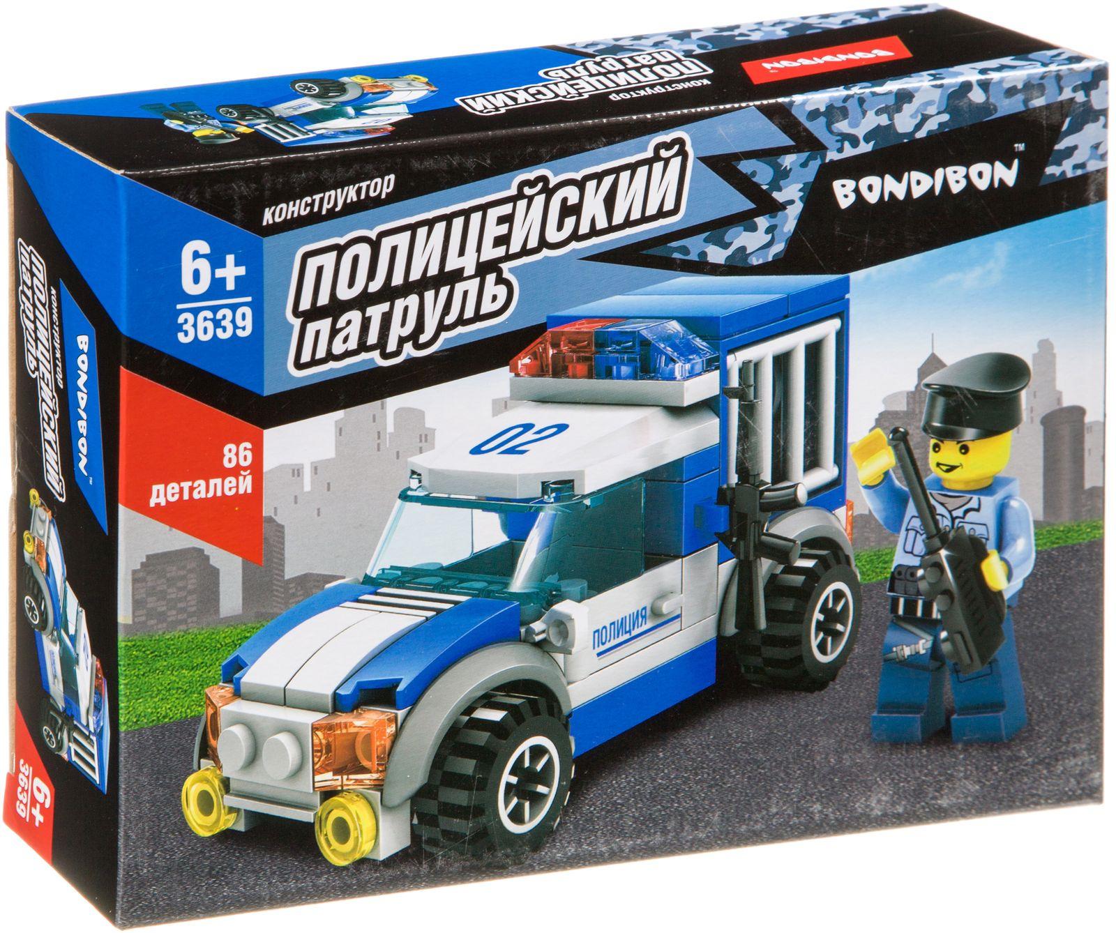 Пластиковый конструктор Bondibon Полицейский Патруль Машина, ВВ3639