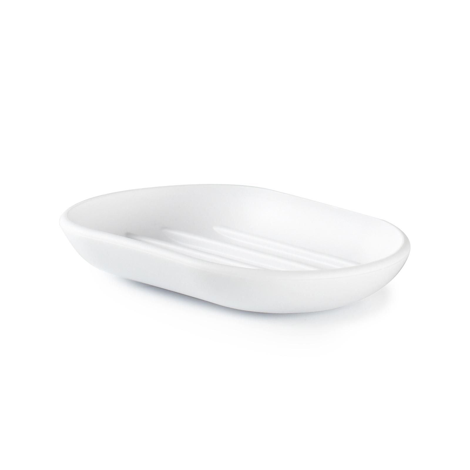 Мыльница Umbra Touch, цвет: белый, 2 х 7 х 9 см мыльница fresh code море ракушка на присоске цвет серебристый 14 х 9 5 х 2 см