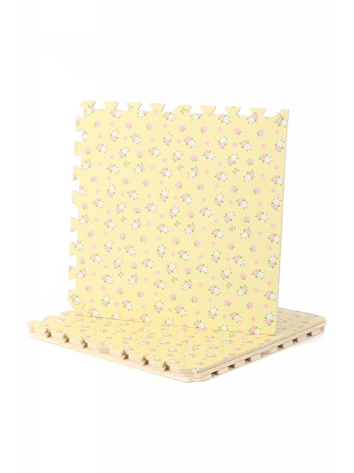Коврик-пазл сборный 4 детали светло-желтый с принтом R019-18 DOLEMIKKI