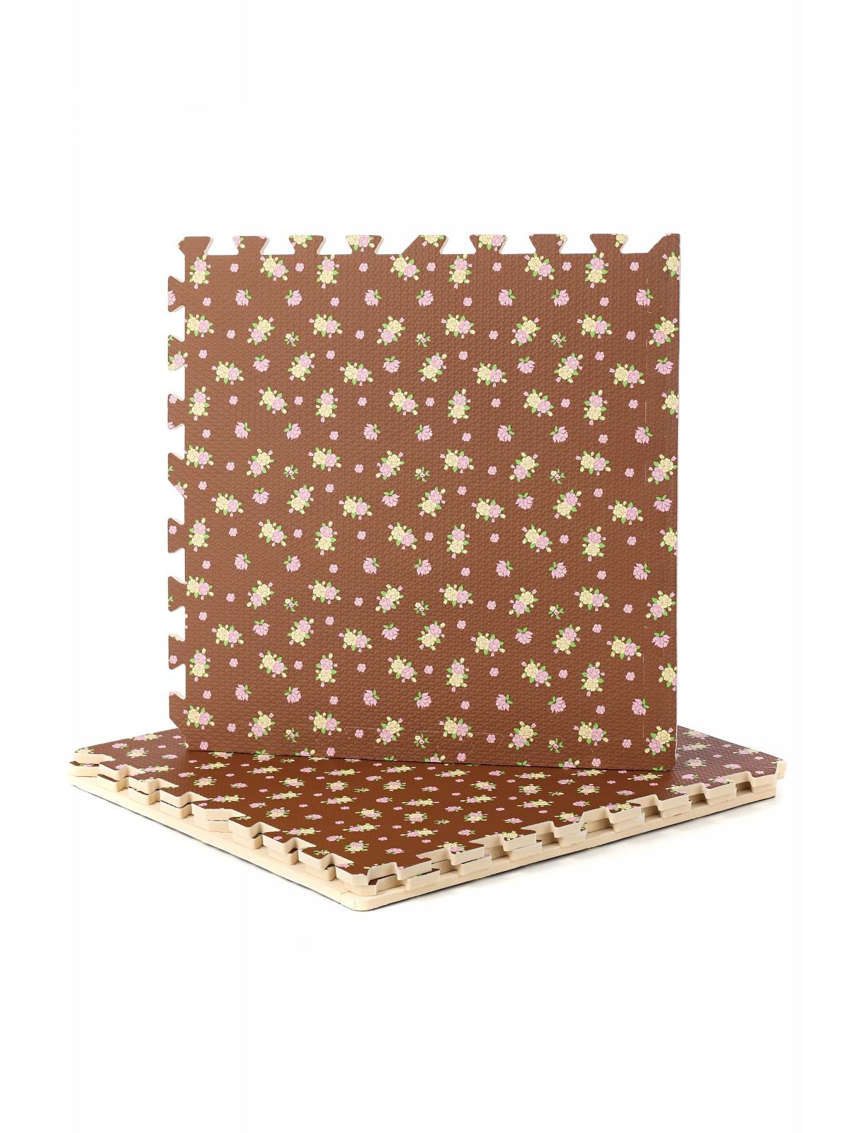 Коврик-пазл сборный 4 детали коричневый с принтом R019-26 DOLEMIKKI