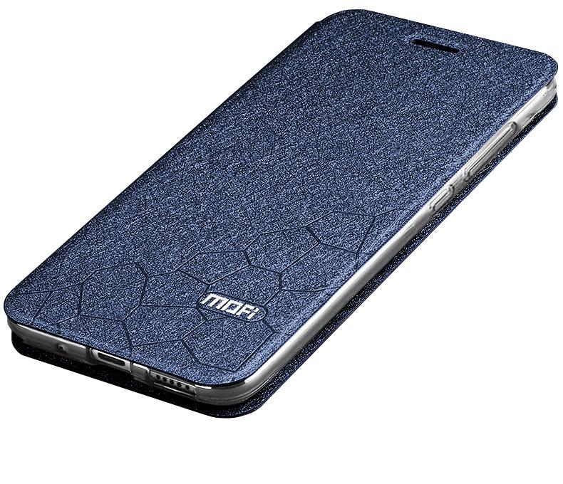 Чехол-книжка MyPads для Xiaomi Redmi Note 7 на жёсткой металлической основе синий