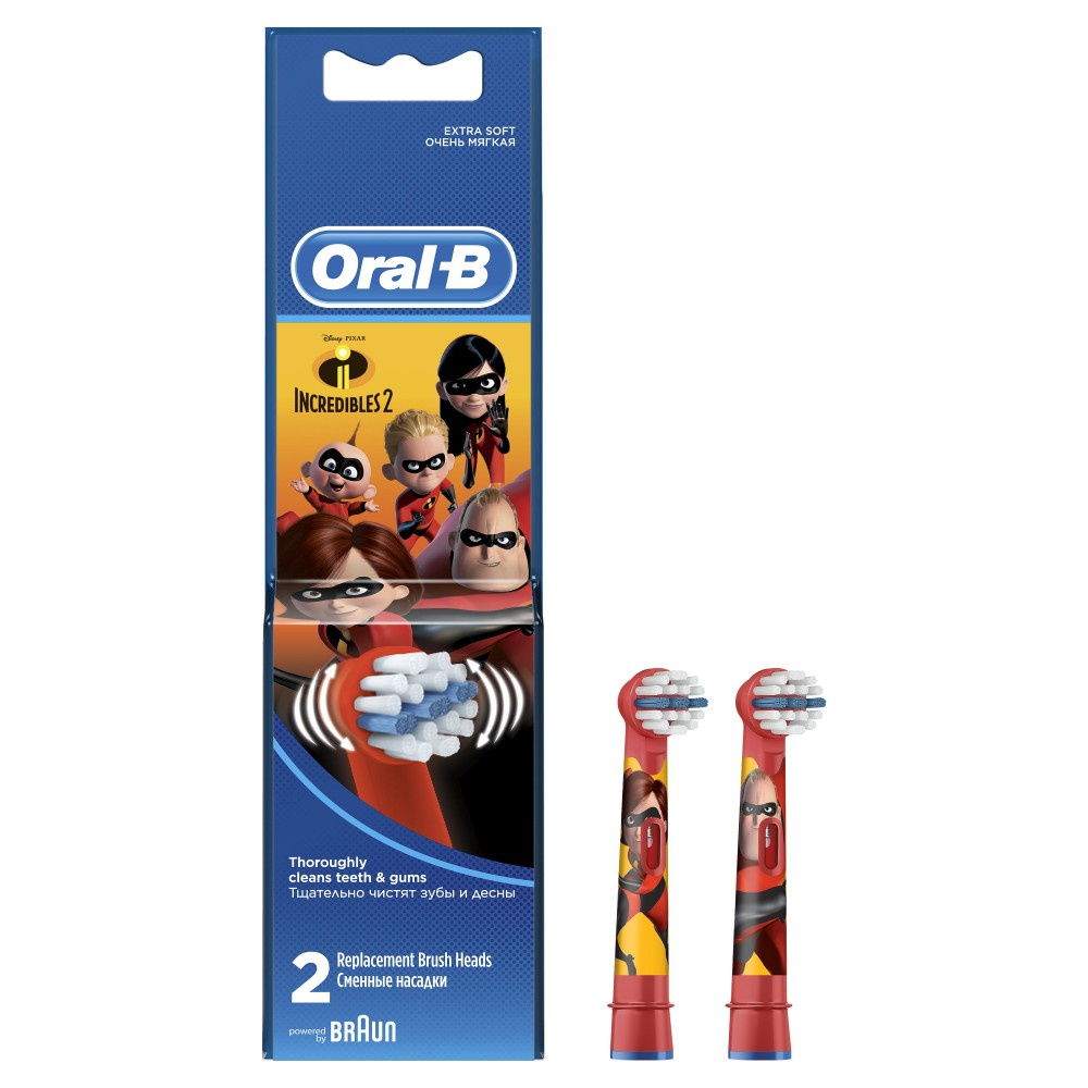 Насадка для зубных щеток ORAL-B EB10K Kids Суперсемейка (2 шт) сменные насадки для зубной щетки kids stages power oral b 2 шт